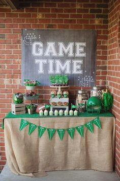 Head table from a Tailgate Football Birthday Party via Kara's Party Ideas   KarasPartyIdeas.com   The place for all things Party!