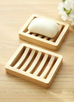 Trapezoid Natural Bamboo Wooden Soap Box Eco-Friendly Soap Holder ...