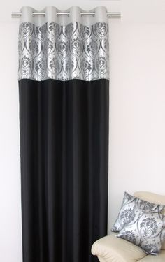 Nowoczesne zasłony czarne ze srebnym wzorem