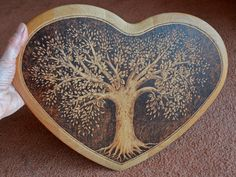 Wooden heart pyrographed chopping board. relief carve w/raised border, burn, hang on backsplash, cut on opposite side