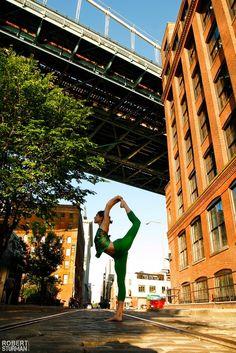 Yoga on the Streets of Dumbo, Brooklyn beautiful teacher and friend, Sarah McGrath photographed by Robert Sturman