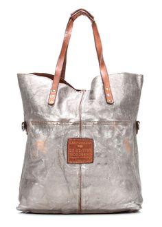 Campomaggi Lavata Shopper Leder silber 45 cm - C1340BISLAVL-7018 - Designer Taschen Shop - http://wardow.com