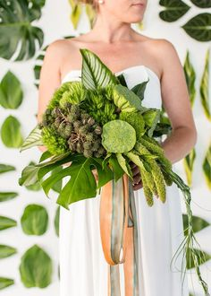 An all green bouquet will pop against a white dress and neutral backdrop