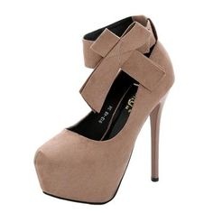 #Valentines #AdoreWe #Oasap.com - #oasap Round Toe Platform Ankle Bow High Heels Pumps - AdoreWe.com