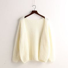 Korean Style Cardigan Knit Solid Color Loose Sweater d457fe9c1