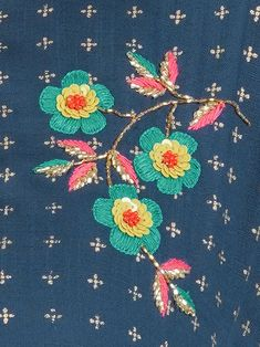 Floral Embroidered Sequins Kurti with Crushed Sharara Set - Fashor Diy Embroidery Patterns, Embroidery On Kurtis, Kurti Embroidery Design, Tambour Embroidery, Hand Embroidery Videos, Hand Work Embroidery, Bird Embroidery, Flower Embroidery Designs, Creative Embroidery