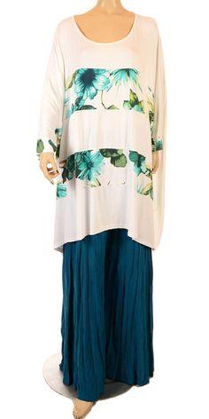 Eden Fantastic White & Turquoise Flower Print Oversize Shirt - Summer 2013-Eden, lagenlook, womens plus size UK clothing, ladies plus size lagenlook fashion clothing, plus size coats, plus size dresses, plus size jackets, plus size trousers, plus size skirts, plus size petticoats, plus size blouses, plus size shirts, plus size tops, plus size tunics, lagenlook plus size fashion clothing