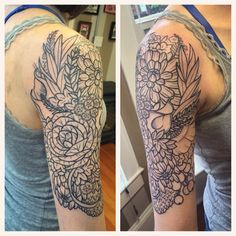 Flowers upon flowers! It's her wedding bouquet made into a half sleeve. Thanks…