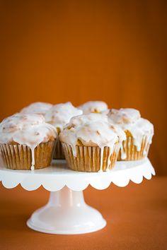 Pumpkin Doughnut Muffins with Vanilla Glaze