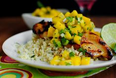 Key West Grilled Chicken with Cilantro-Lime Cauliflower Rice – recipe from Iowa Girl Eats