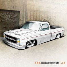 Custom vehicle and hot rod design, apparel and poster graphics, branding and content creation by Problem Child Kustoms Studio. 87 Chevy Truck, Lifted Chevy Trucks, Chevy C10, Chevy Pickups, Bagged Trucks, C10 Trucks, Pickup Trucks, Custom Trucks, Custom Cars