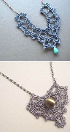 Crochet necklaces. Oh, so many patterns that would work...........idea