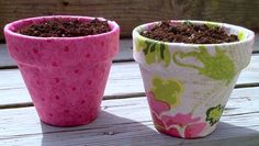 Use pretty fabric on these Mod Podge terra cotta pots for the perfect spring craft project! Makes a great container garden - or gift idea.