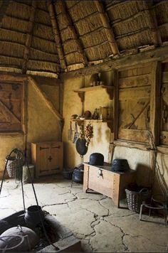 Interior of a Medieval home. Not sure what the floor is here, but it would have been plain dirt back then.