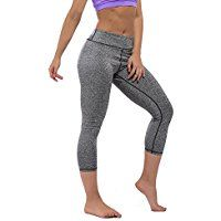 YIVEKO Women High Waist Capris Yoga Pants Leggings Tummy Control Slim Fitness Running Workout Shapewear >>> See this great product.