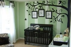 Amazing Tree And Birds Wall Murals With Nursery Bed In Small Green Bedroom Decorating Design Ideas