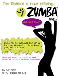 Flyer advertisement for Zumba classes