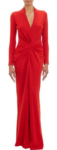 Lanvin Twist-Front Wool Jersey Floor-Length Gown