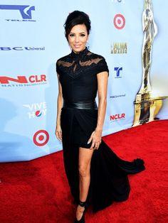 Eva Longoria in beaded black Monique Lhuillier at the 2012 Alma Awards #celebs #celebrities #style