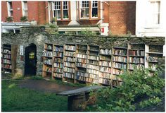 Store your books outdoors!  These shelves are in Hay on Wye, a town of bookshops in Wales.