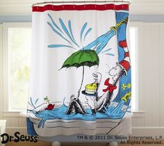 Dr. Seuss Bathroom Decor for Kid's Room Inspiration Cat in the Hat shower curtain – Home Interiors