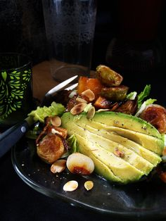 Avocado and candied bacon warm salad