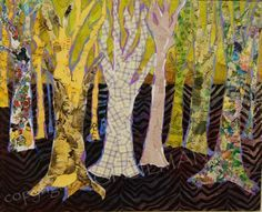 Original mixed media collage tree art created by New York artist Schulman depicts an abstract landscape with bare trees in a chartreuse green forest with a funky purple zebra print on the forest floor. The collage elements are torn pieces of painted pieces of sheet music as well as torn watercolor paintings. The painted piano sheet music represents the bark of trees. This stunning large wall art will look great with many decorating schemes. Dominant colors in this artwork are chartreuse…