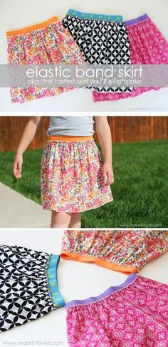 Super easy skirt. Great detailed instructions on sewing elastic waistband.