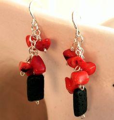 Pendientes colgantes plata ley y coral bambú rojo. de BGLASSbcn por DaWanda.com