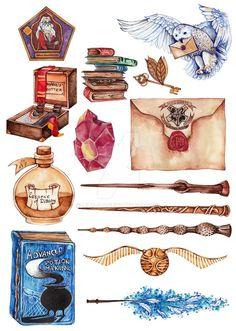 Fanart Harry Potter, Harry Potter Tattoos, Deco Harry Potter, Harry Potter Fabric, Theme Harry Potter, Harry Potter Facts, Harry Potter World, Harry Potter Painting, Harry Potter Artwork