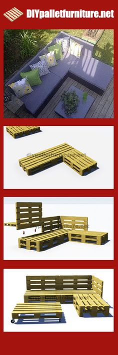 Instructions and plans of how to make a sofa for the garden with pallets - DIY Tutorial - DIY Pallet Projects - Repurposed Pallets - Upcycled Pallet Furniture - DIY Furniture - Reclaimed Pallet Projects - Pallet Tables - Outdoor Projects, Garden Projects, Home Projects, Garden Ideas, Design Projects, Pallet Exterior, Palette Diy, Palette Bench, Pallet Crafts