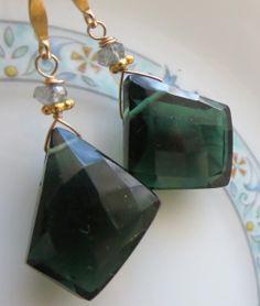Green Quartz & Gold-Filled Earrings www.halliescomet.com