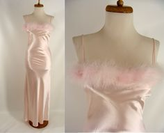 $38.88 As-Is 90s Pink Satin Feather Boa Spaghetti Strap Fancy Dress Gown or Customizable Zombie Costume OPTIONAL BLOOD ~ size S Small 5 6 by wardrobetheglobe on Etsy