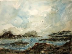 Rocky Shore Print Of Original Watercolor seascape by RPeppers