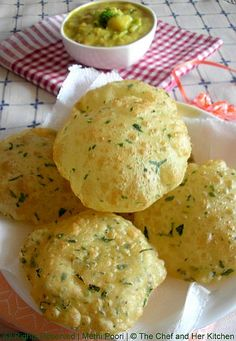 Food Methi Poori and Potato Masala. Ingredients: 1 cup whole wheat flour handful all purpose flour 1 cup methi leaves tsp ajwain 1 tbsp curds cup milk 1 tbsp oil salt to taste oil for deep frying Indian Snacks, Indian Food Recipes, Vegetarian Recipes, Snack Recipes, Cooking Recipes, Fish Recipes, Recipies, Puri Recipes, Paratha Recipes