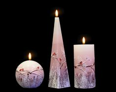 Handmade and Decorated Candle Sweethearts Cylinder Pyramid Ball Pink Robin Pink Candles, Pillar Candles, Christmas Candle, Handmade Christmas, Beautiful Candles, Handmade Candles, Hand Painted, Lights, Link