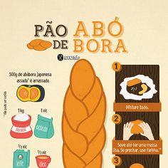Infográfico receita de Pão de abóbora, um pão doce saboroso, fácil de preparar e muito macio. Ingredientes: abóbora, farinha, açúcar, ovo, leite, fermento, sal e óleo.