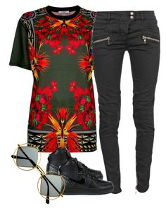 """""""Untitled #1951"""" by dreakagotswagg ❤ liked on Polyvore featuring Givenchy, Balmain, NIKE and Retrò"""