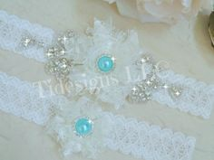Ivory Bridal Garter Set Blue Garter Rhinestone by TIdesigns