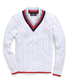 Country Club Supima® Tennis Cable V-Neck Sweater | Brooks Brothers $148