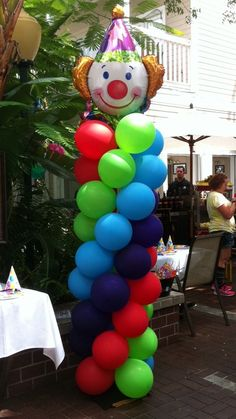 Balloon column for circus theme party (my balloons would be our colors and not have a clown lol)