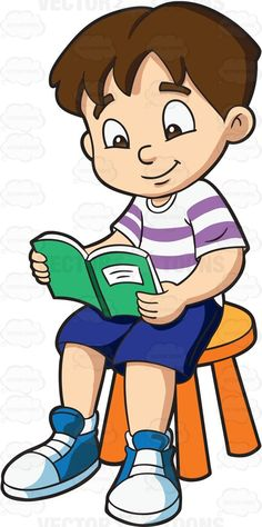 A boy passing time while reading his favorite storybook 1
