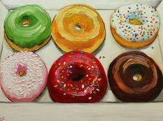 Donuts still life painting 24 18x24 inch original oil painting by Roz