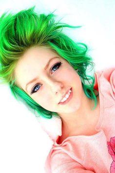 Green hair,,super cute