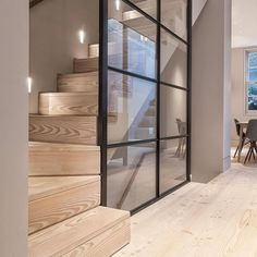 We really think the Douglas floor and stair treads help create a nice and calm contrast against the steel-framed glass wall in this London… Modern Staircase, Staircase Design, Staircase Ideas, Hallway Ideas, Staircase Glass Railing, Glass Stairs, Staircase Remodel, Staircase Makeover, Modern Hallway