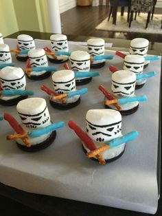 I took the marshmallow storm trooper idea from Pinterest, but came up with the light sabers and Oreos dipped in white chocolate to hold it all together on my own. It was a HUGE hit for my 5-year old's school birthday treat!!