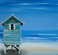 'Beach Hut' by Jo Hughes, acrylic on canvas.