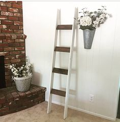 Add true farmhouse charm to any room in your home with this stylish blanket ladder. You can add blankets to it in the living room, hand towels in the bathroom, or scarves/clothes in the bedroom... the options are endless! (Great gift for a housewarming, wedding, or baby shower.) Ladder measures 6 feet high and 18 inches wide. To lower shipping costs for my customers, this item is mailed disassembled but all you have to do is use the included screws in the pre-drilled holes and itll be r...