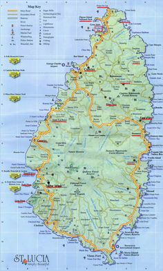 Large detailed road map of Saint Lucia. Southern Caribbean Cruise, Caribbean Vacations, Dream Vacations, Santa Lucia, Jamaica, Barbados, St Lucia Island, Places To Travel, Places To Go