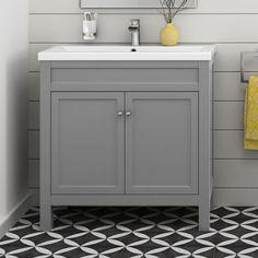 Grey Bathroom Furniture Vanity Storage Unit with Ceramic Basin Sink 800 mm Traditional Bathroom Furniture, Grey Bathroom Furniture, Grey Furniture, Bathroom Interior Design, Furniture Storage, Antique Furniture, Furniture Vanity, Bathroom Designs, Interior Paint